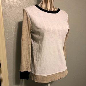 JCrew 3/4 sleeve white, tan and black top
